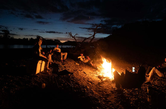 Campfire on the Yellowstone River