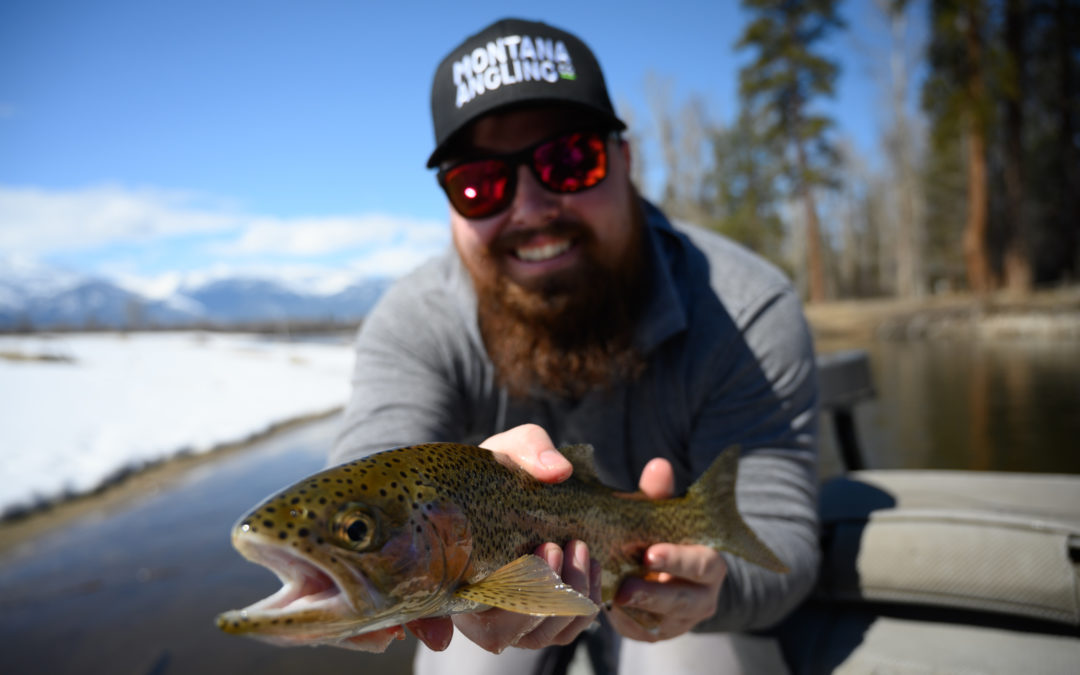 Montana angler fly fishing in April