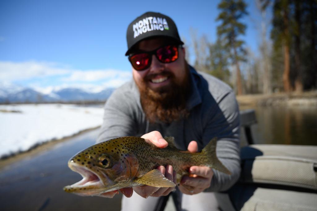 Montana angler fly fishing in April