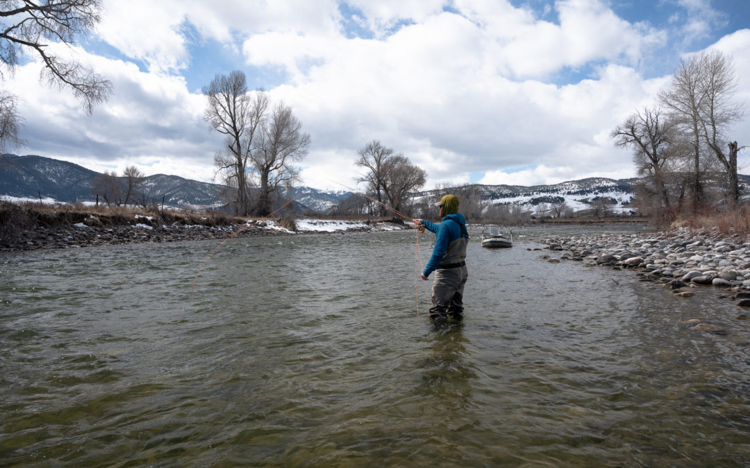 Angler fly fishing on the Gallatin River in Bozeman, MT