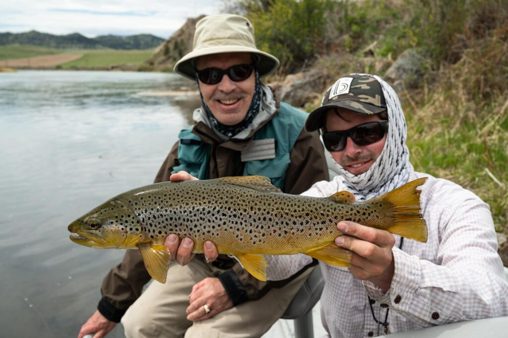 Angler with a trophy Missouri River brown trout in Montana