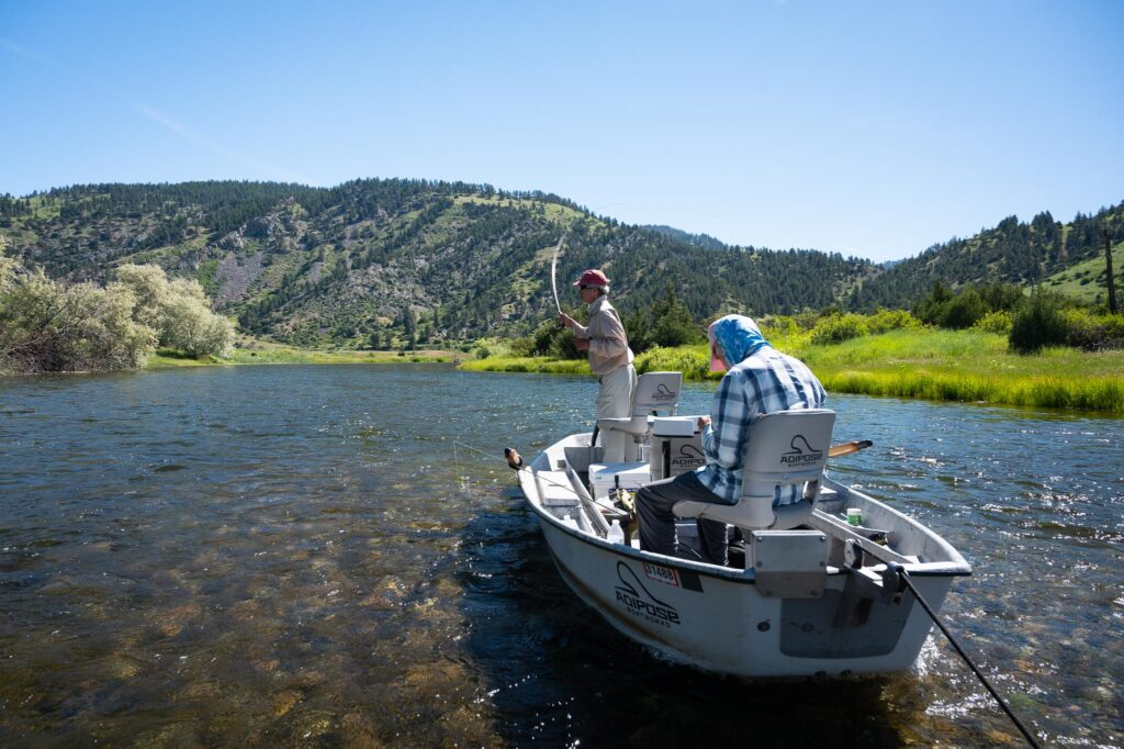 Anglers fly fishing on the Missouri River