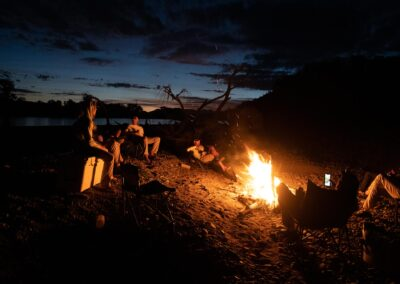 Riverside camp fire on the Yellowstone River