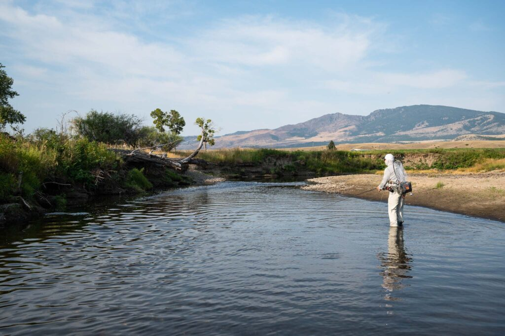 Wade fishing private water in Montana