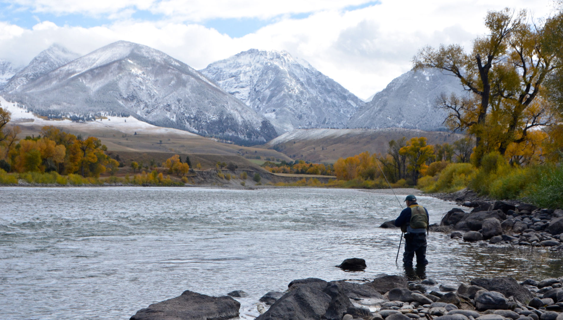 Wade Fishing on the Yellowstone River in October
