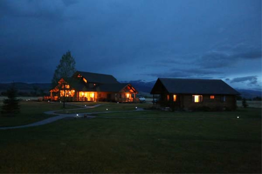 Madison Valley Ranch at night
