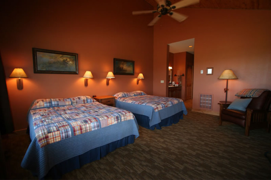 Bedroom at the Madison Valley Ranch lodge