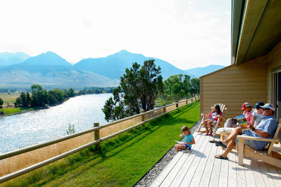 Family Relaxing at the Yellowstone Valley Lodge