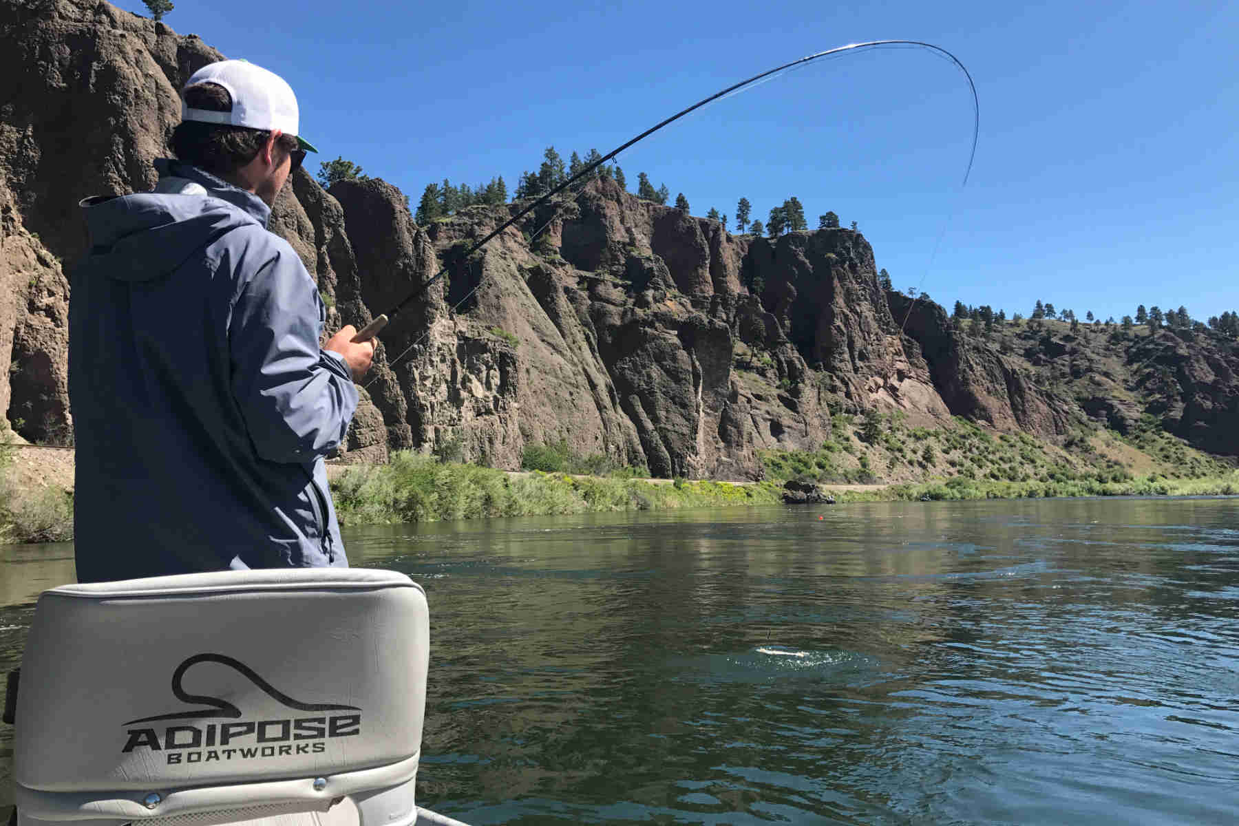 angler fighting a Missouri River trout