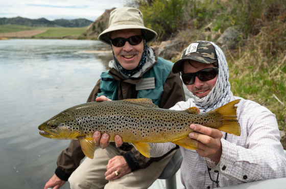 Angler fly fishing with our Missouri River Fly fishing guides