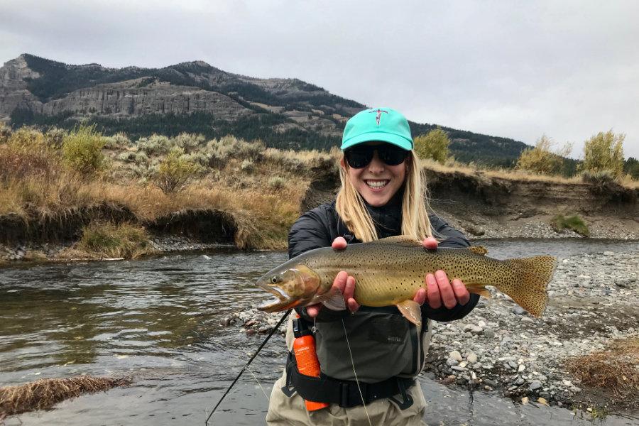 Angler enjoying September fly fishing in Montana