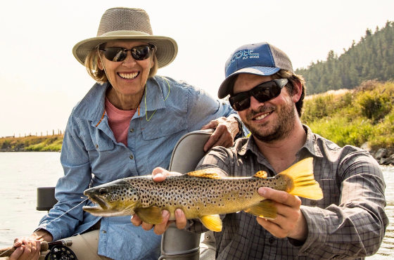 Angler with a Yellowstone Brown Trout